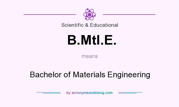 What does B.Mtl.E. mean? It stands for Bachelor of Materials Engineering